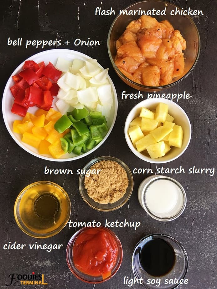 recipe ingredients in bowls on a black surface