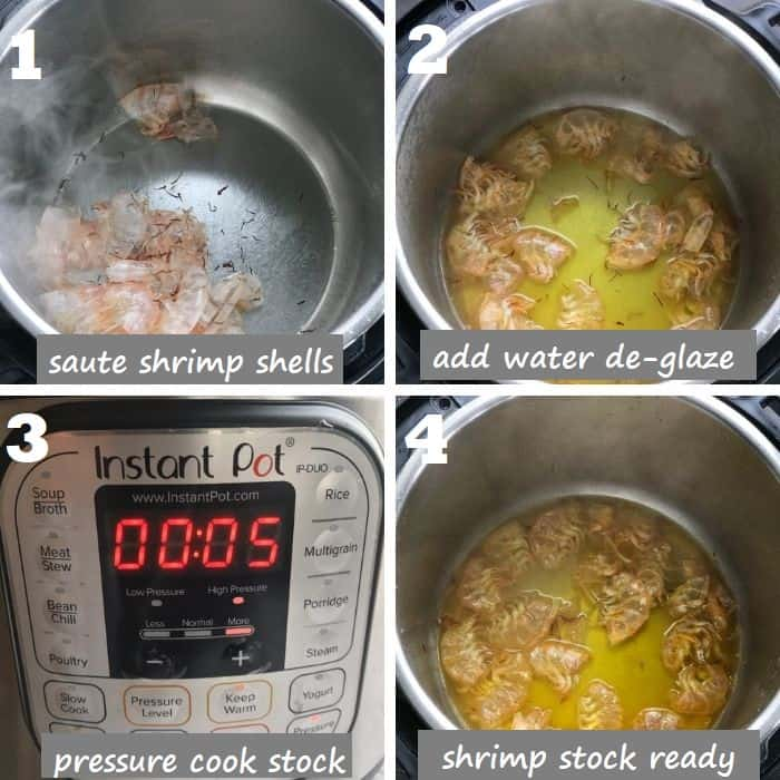 making shrimp stock with shrimp shells & saffron in instant pot step by step