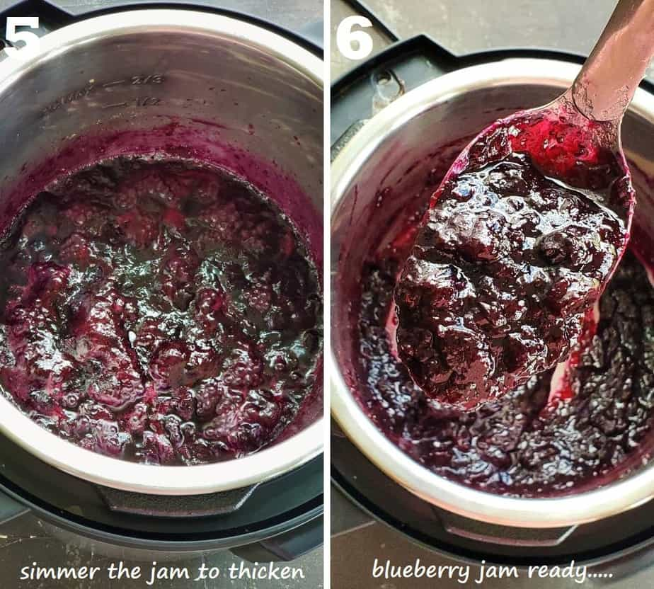 Simmering blueberry jam in instant pot to thicken it