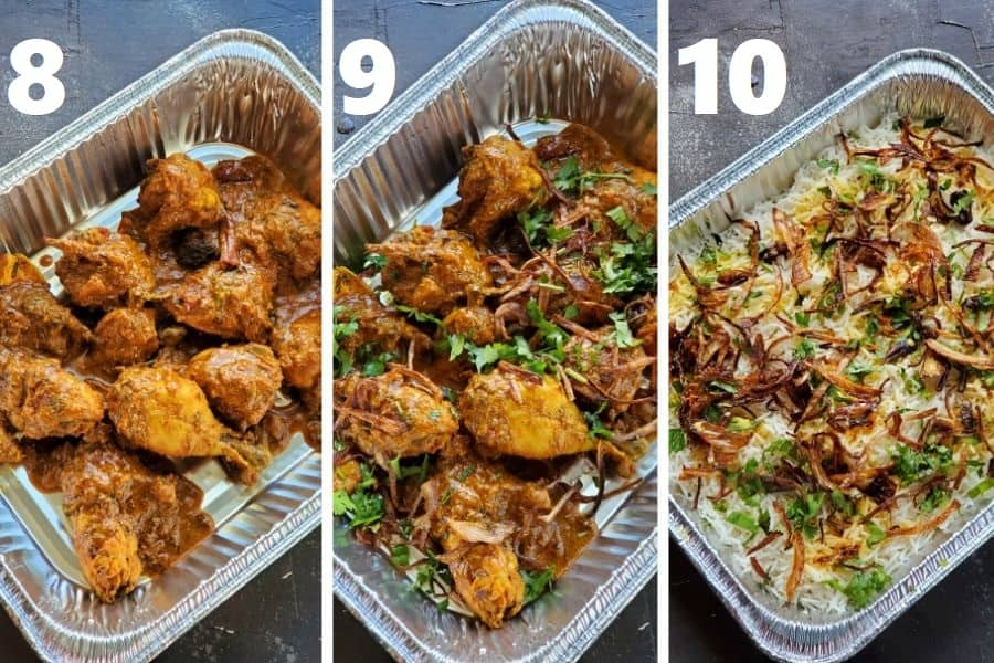 assembling chicken biryani in an aluminum tray