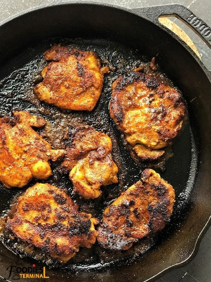 chicken shawarma skillet roasted in a lodge cast iron pan
