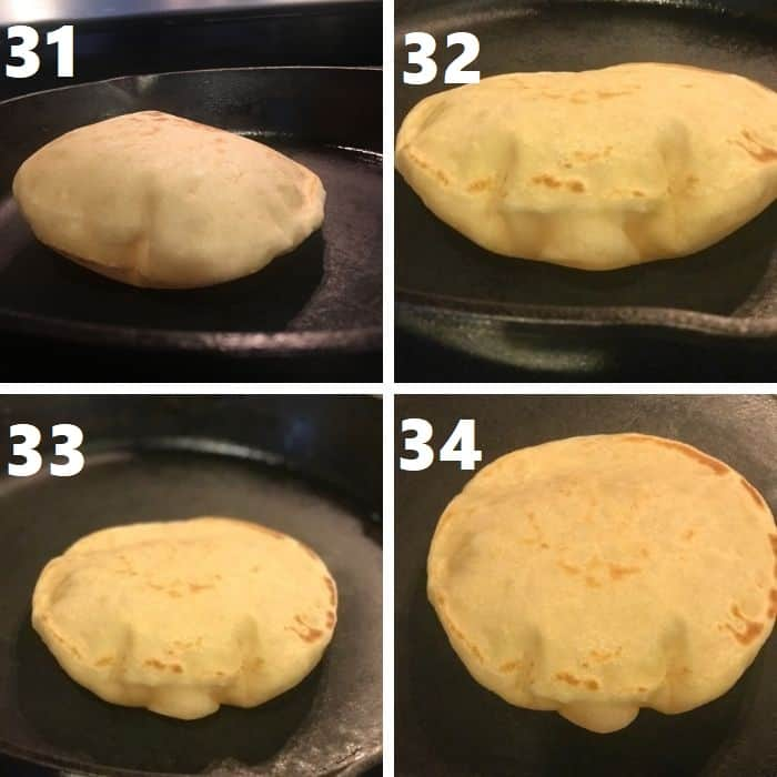 baking the rolled out homemade pita bread on a skillet on the stove top