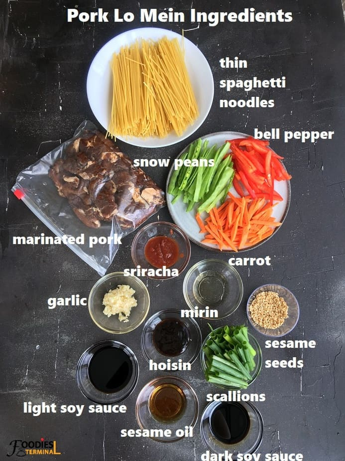 ingredients in bowls on a black surface