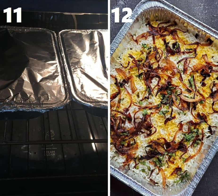 cooking dum biryani in oven in an aluminum tray tightly covered