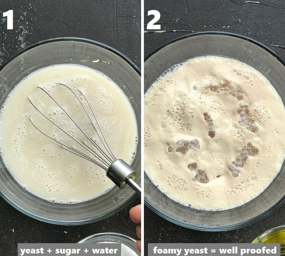proofing yeast in a clear bowl