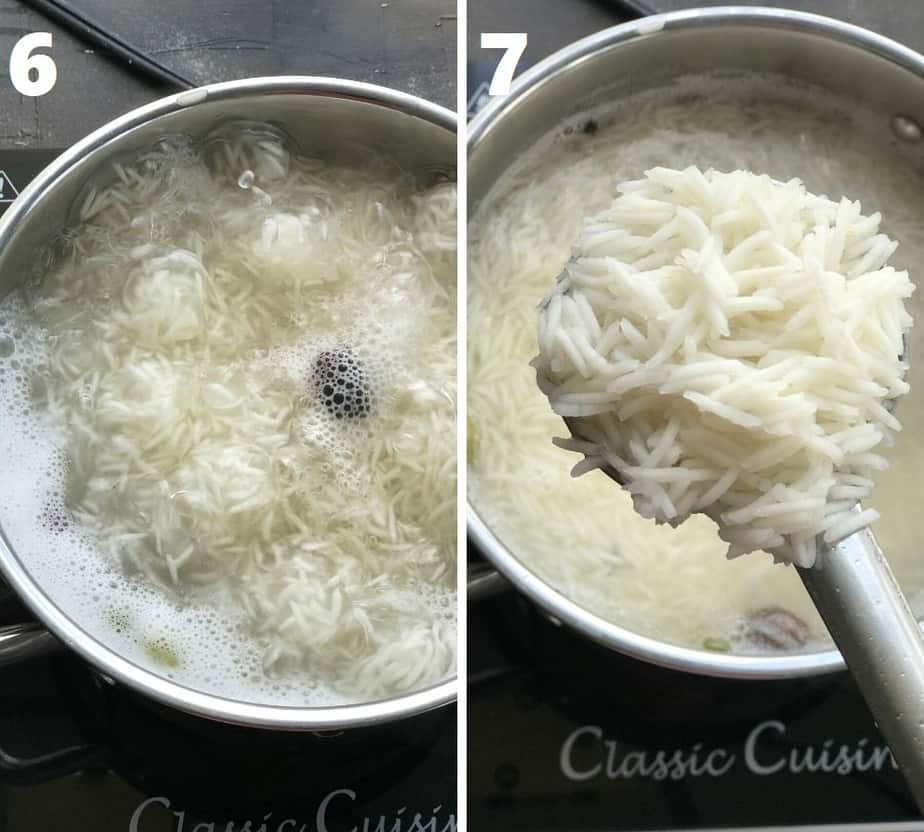 cooking Basmati rice in a steel pot on the stove top