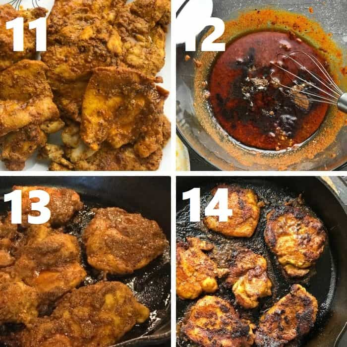 skillet roasting the chicken shawarma with leftover marinade in an iron skillet