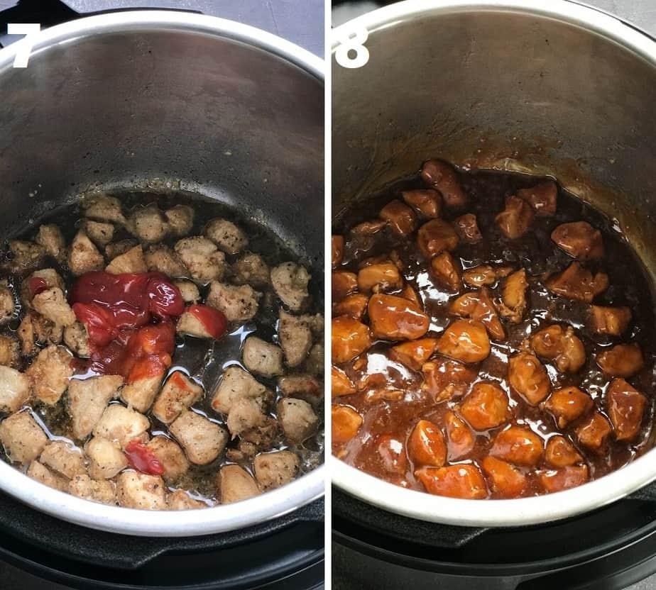 simmering & thickening sesame chicken sauce in instant pot