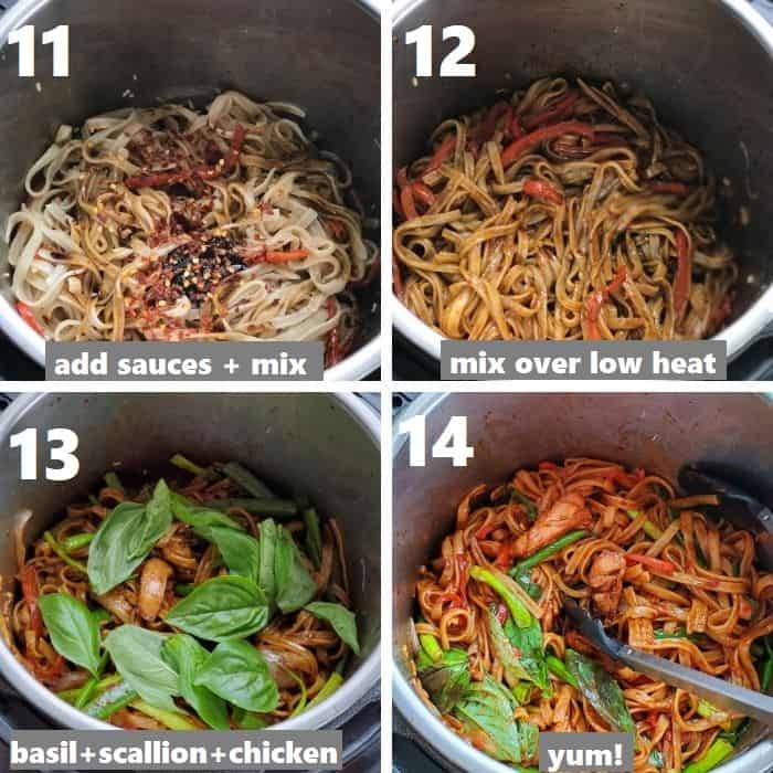 tossing rice noodles in sauces in the instant pot with basil & scallions