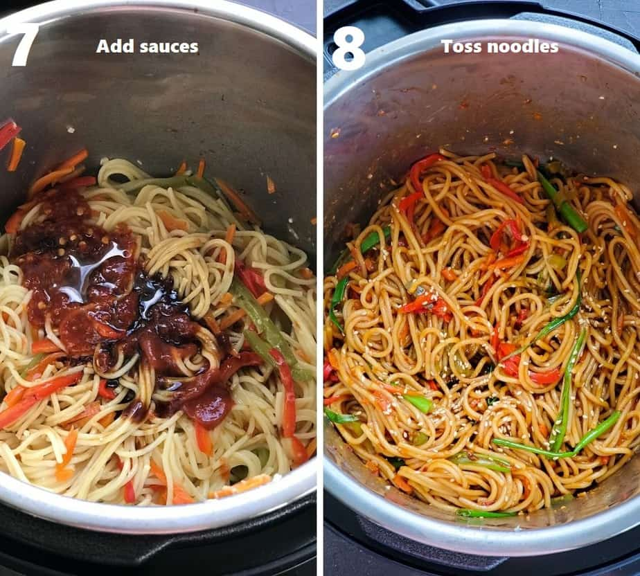 tossing noodles in sauces in instant pot garnished with sesame seeds & scallions
