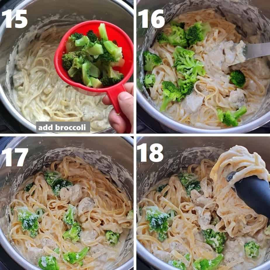 adding broccoli in chicken fettuccine alfredo in instant pot