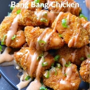 Air Fried Bang Bang Chicken drizzled with bang bang sauce