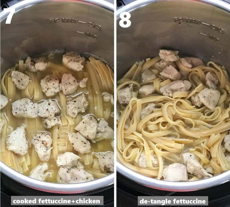 de-tangling cooked fettuccine noodles in the instant pot