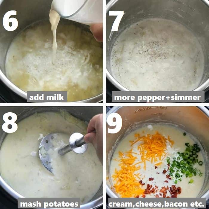preparing the cheesy loaded potato soup in instant pot