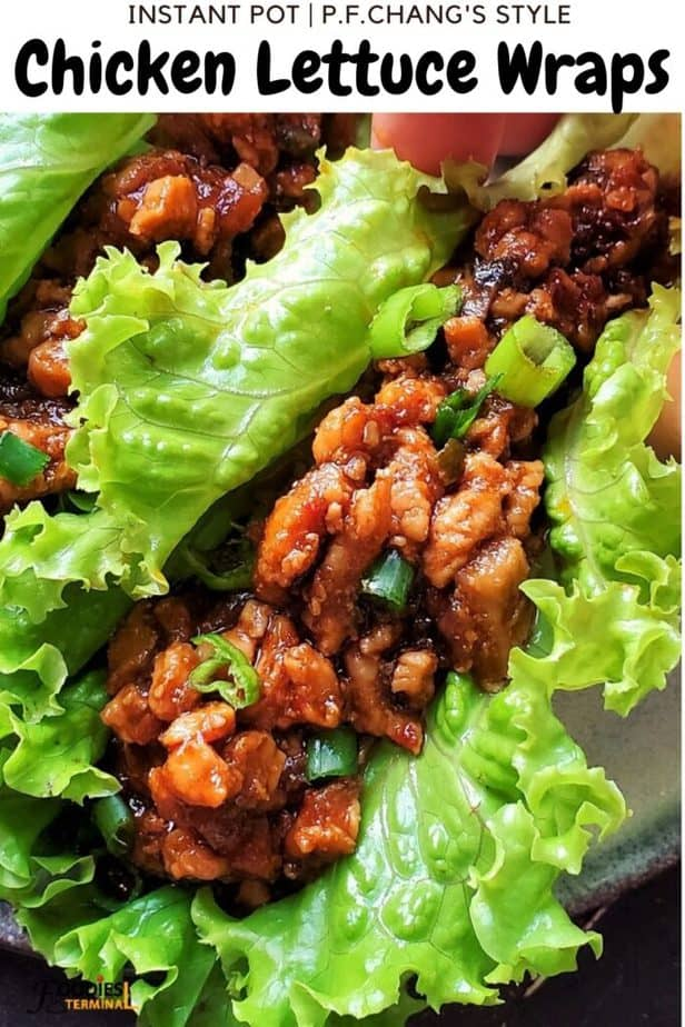 P.F. Chang's style chicken lettuce wraps being lifted
