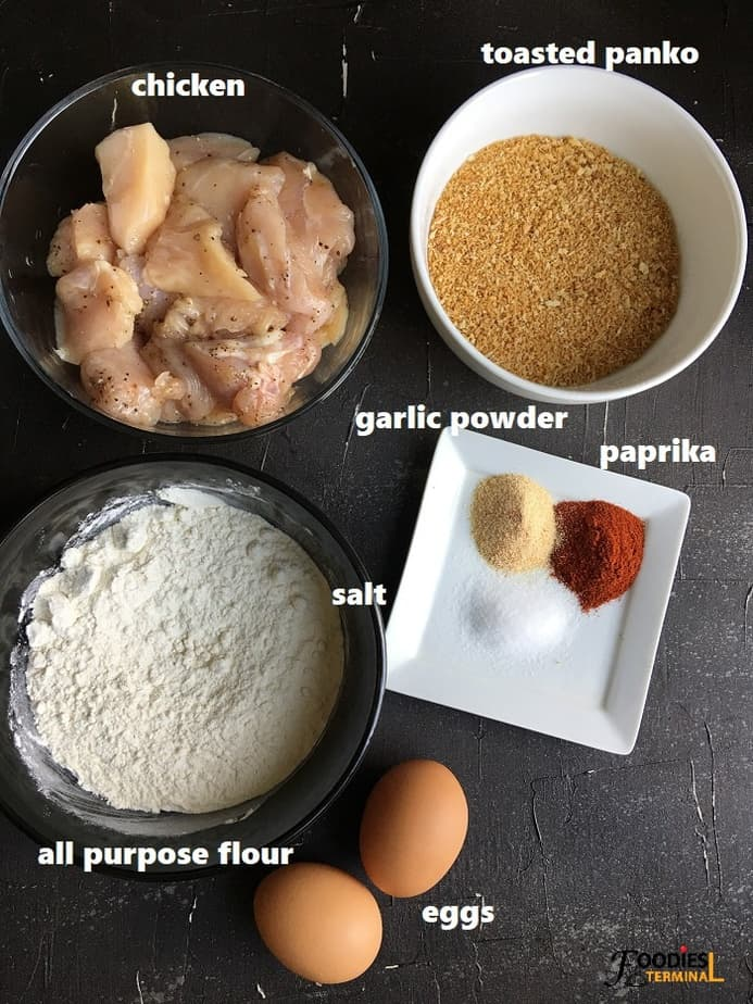 Ingredients on a black surface