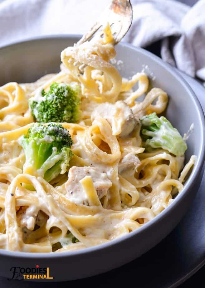 creamy chicken fettuccine alfredo with broccoli being lifted with a fork from a grey bowl