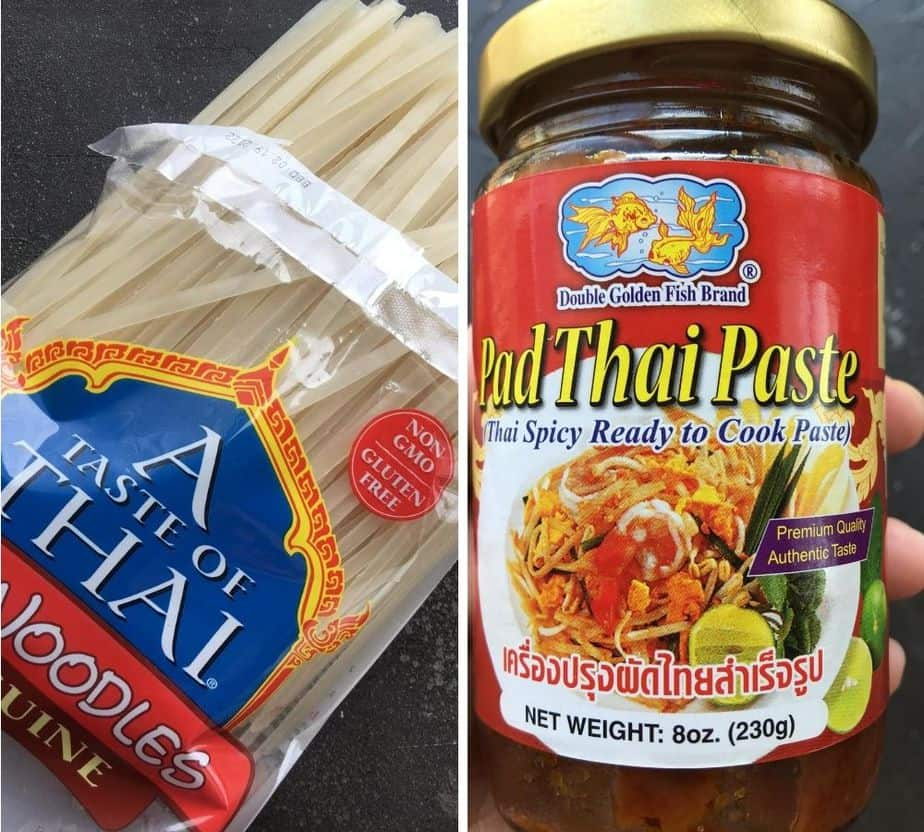 Pad thai noodles and pad thai sauce storebought