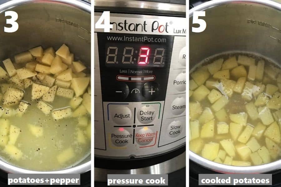 pressure cooking potatoes with crushed black pepper in instant pot