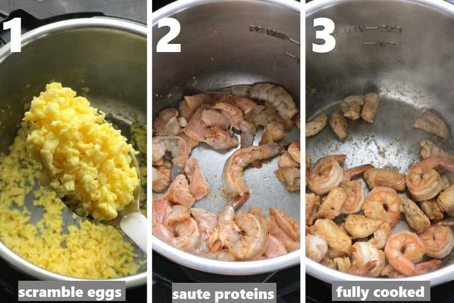 scrambling eggs and sauteing chicken and shrimp together in the instant pot