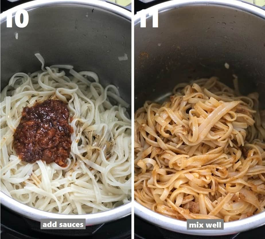 tossing cooked noodles in sauces in the instant pot