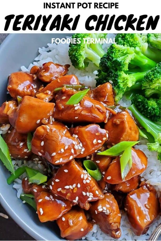 simple instant pot teriyaki chicken garnished with white sesame seeds, scallions