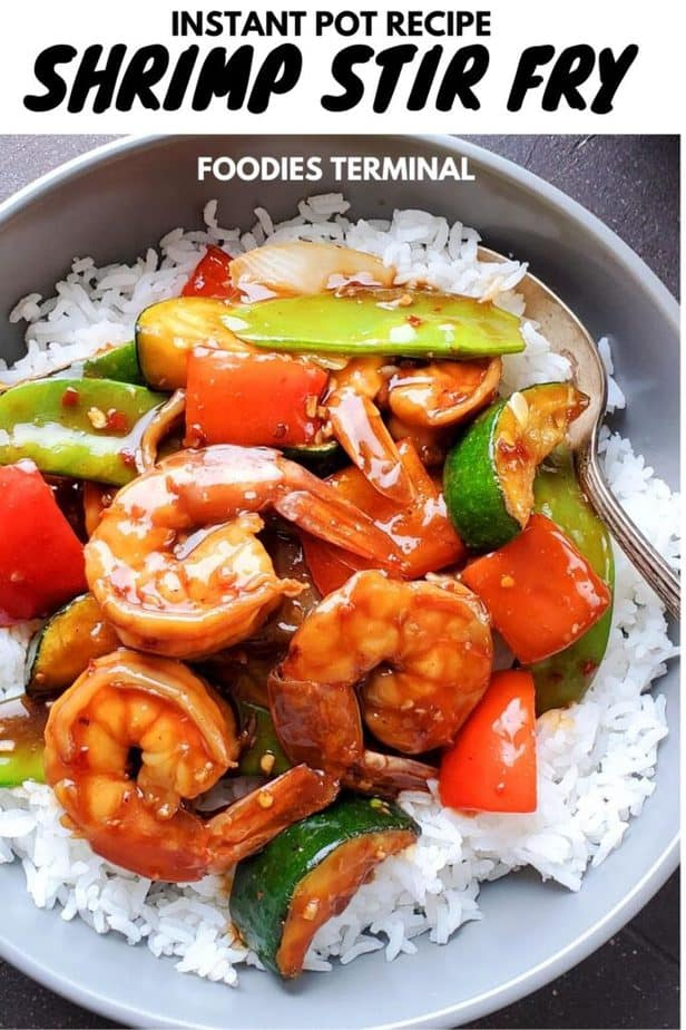 instant pot shrimp stir fry recipe with veggies served on white rice