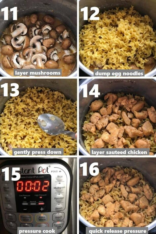 pressure cooking noodles, chicken and mushrooms in instant pot