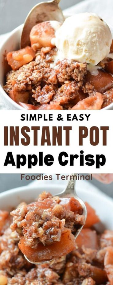easy apple crisp made in instant pot & served in a white bowl with ice-cream