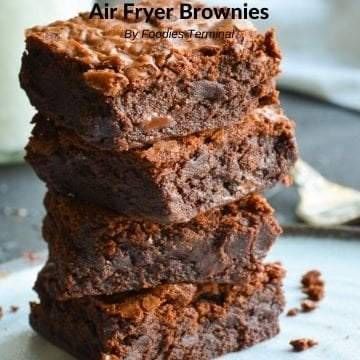 Air Fryer Brownies in a stack