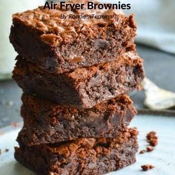 Air Fryer Brownies in a stack
