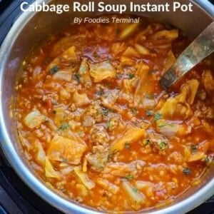 Cabbage roll soup in instant pot garnished with parsley