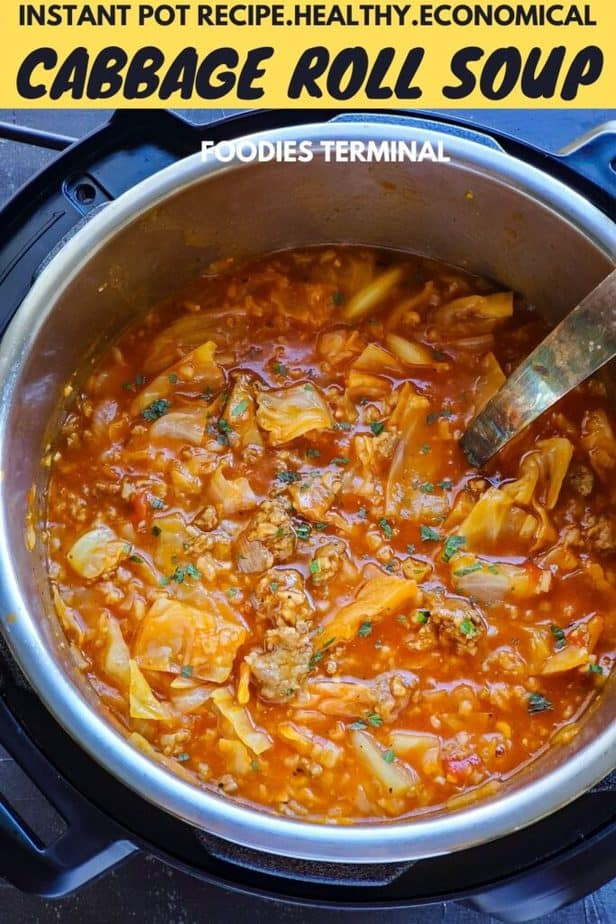 unstuffed cabbage roll soup in instant pot with a ladle