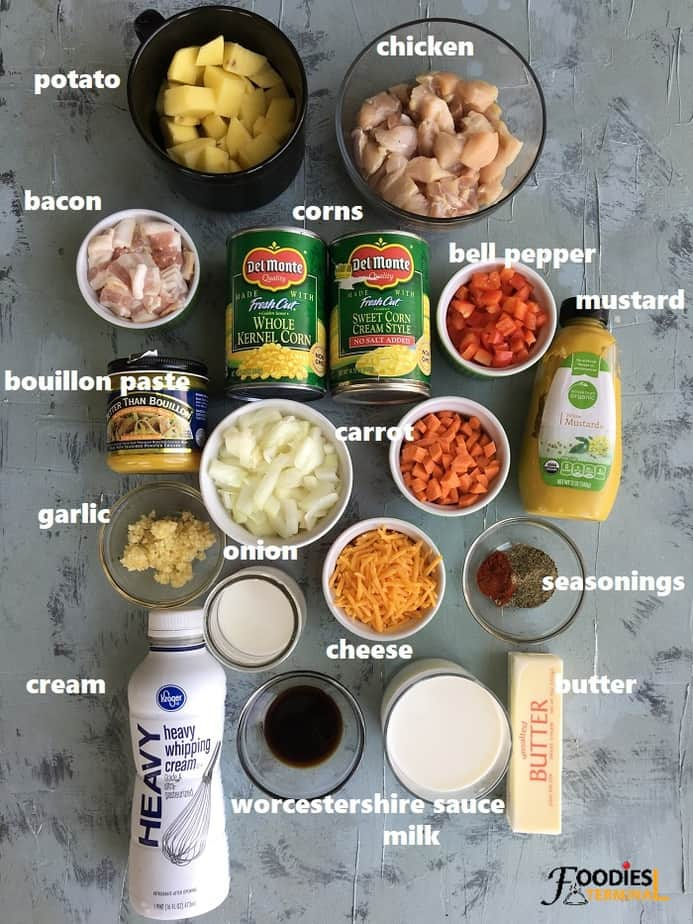 recipe ingredients kept on a grey surface