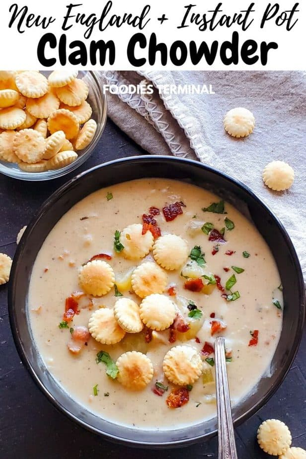 clam chowder new england garnished with oyster crackers served in a black bowl with spoon