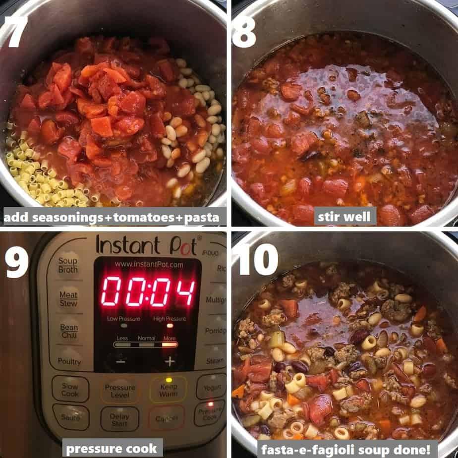 pressure cooking pasta fagioli soup in instant pot
