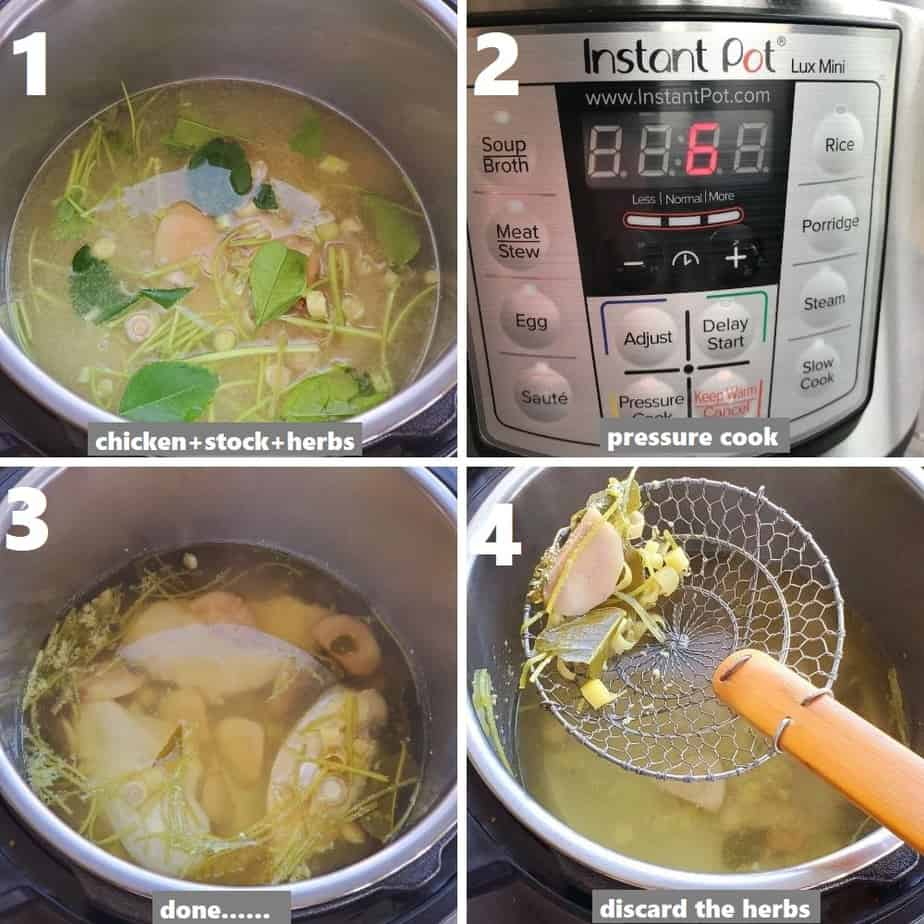 pressure cooking chicken and making stock in instant pot