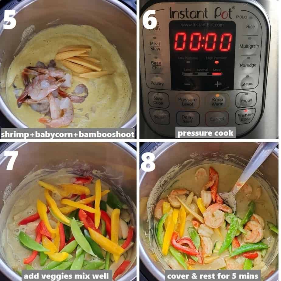 making thai green curry in instant pot with shrimp & veggies