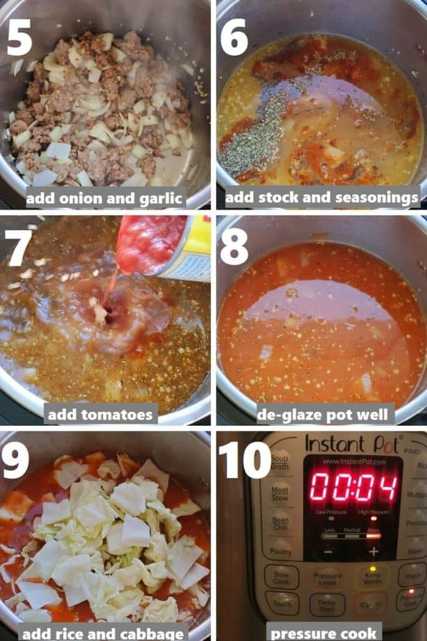 pressure cooking cabbage and sausage