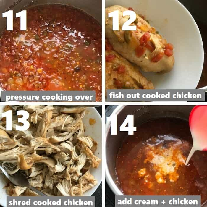 adding dairy & shredded chicken in instant pot