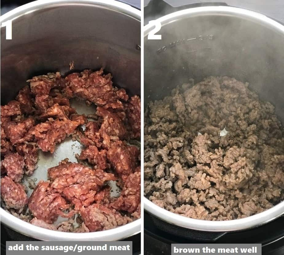 Browning the sausage in the Instant Pot