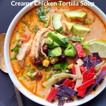 creamy chicken tortilla soup instant pot in a white bowl