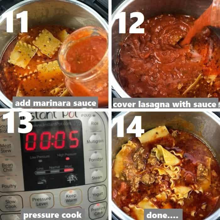 pressure cooking lasagna soup