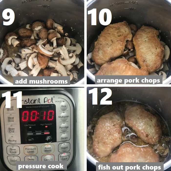 pressure cooking pork chops in the instant pot