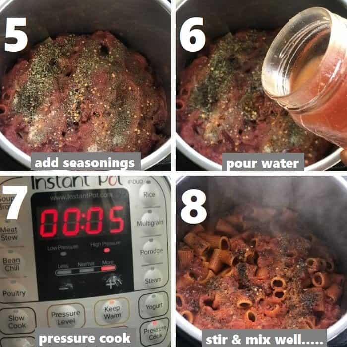 pressure cooking pasta and meatballs in instant pot