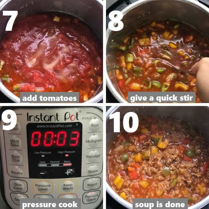 pressure cook the bell pepper soup in the instant pot