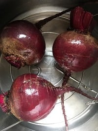 rinsed whole beets on the metal rack inside the instant pot