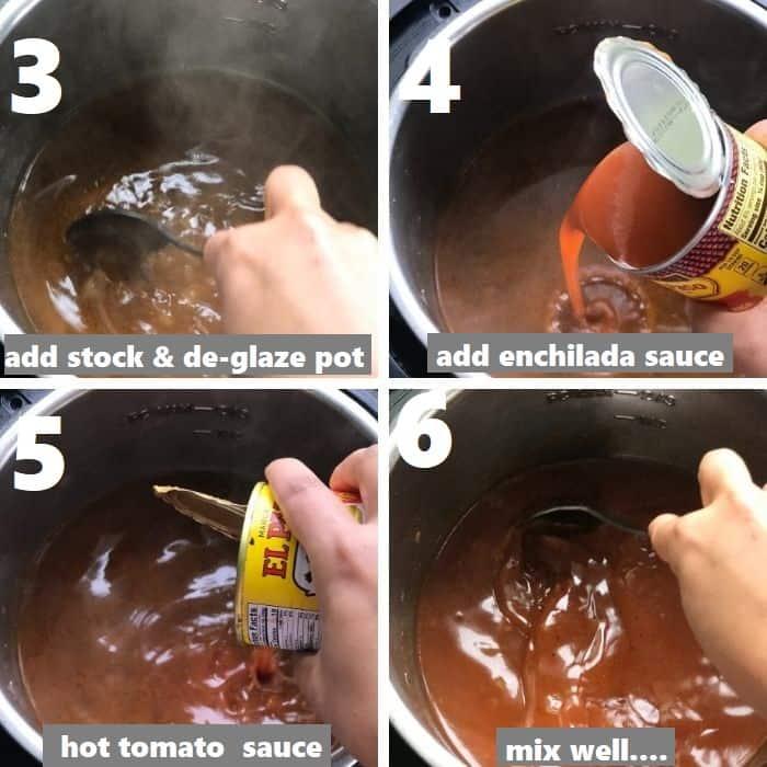 de-glazing pot & adding sauces in instant pot