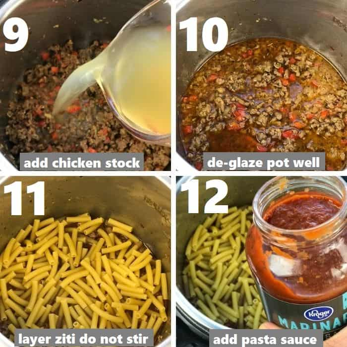 layering ziti and pasta sauce in instant pot