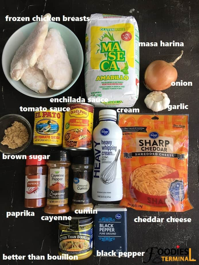 recipe ingredients on black surface